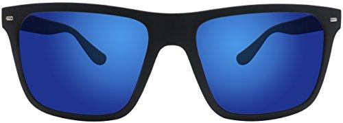 Sonnenbrille La Optica UV 400 Herren Männer Jugendliche Eckig - Einzelpack Gummiert Schwarz (Gläser: Polarisiert Blau verspiegelt)