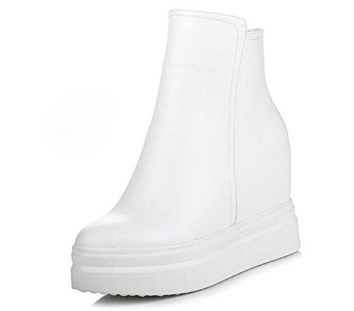 Sapatos Casuais Com Solo Grave Aumento Mulheres Botas Flat Na Mulher Zíper Sapato Esportivo Dando Sapatos Outono Branco