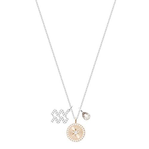 Swarovski pendente zodiac, acquario, grigio, placcatura rodio