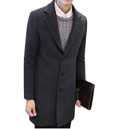 CuteRose Men's Mid-Long Plus Size Lapel Regular-Fit Outwear Coat Jackets Dark Grey XL (Double Breasted Pea Coat Dress)