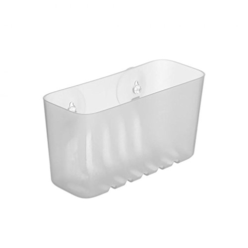 Duschregal Kunstoff transparent von SANIXA / Duschablage ohne Bohren mit Saugnäpfen / Duschkorb Wannenablage / Stabile Ausführung
