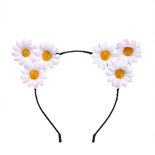 Katze Sonnenblumen Kostüm - 1 PCS Katze-Ohr-Stirnband-Zusätze Der Sonnenblume Haar-Stirnband Halloween Dekoration Kostüm-Partei (weiß)