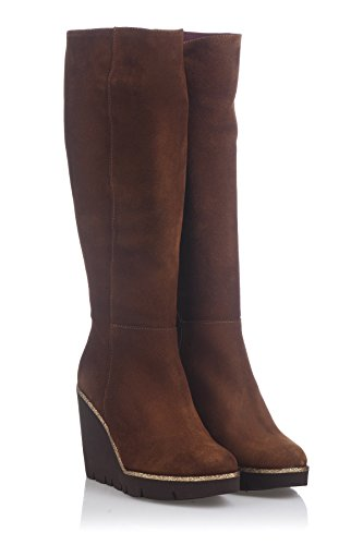 Laura Moretti Damen High Boot Below the Knee Wedge Keil Stiefel, Tabak, 38 EU (Winter Boot High Knee)