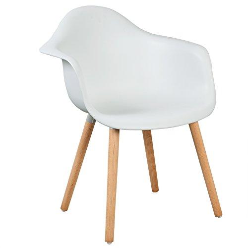 LLIVEKIT Esszimmerstühle,Schalenstuhl mit Armlehnen,1x Retro Stück Esszimmerstuhl mit Lehne Design und Holz Bein für Wohnzimmer Küche Büro Weiss