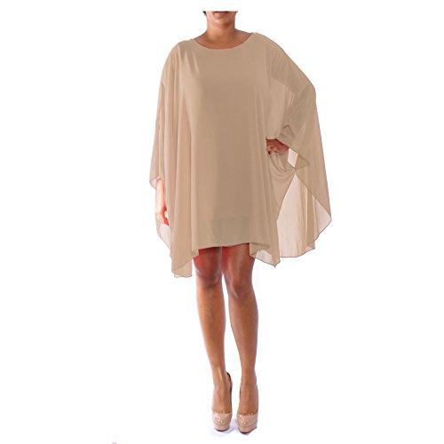 Femmes surdimensionné Top pour femme Baggy Top Coupe ample Top T-shirt à manches longues chauve-souris en mousseline de soie Top Robe d'été pour femme pour femme Chemisier pour femme Tunique Beige