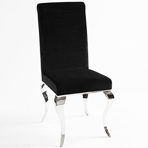 Stuhl MODERN BAROCK schwarz Stuhlbeine aus Edelstahl mit Negro Samt Lehnstuhl