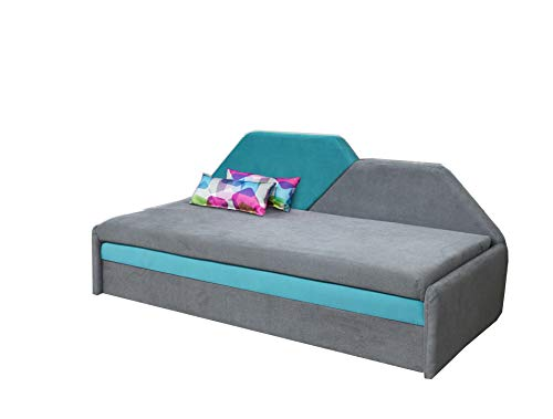 mb-moebel Kinderbett Jugendbett Kindersofa Bettfunktion Bett Funktionsofa Miko (Blau)