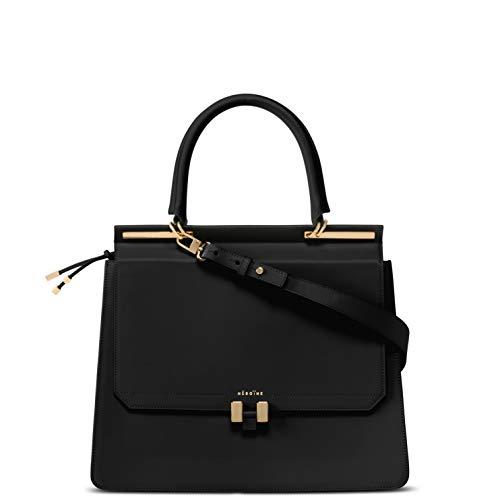 Marlene Laptop 13 Zoll | Handtasche | Damen | Schwarz/Dunkel Grau Gold | Umhängetasche | Leder | Schultertasche | Gepolstertes Laptopfach -