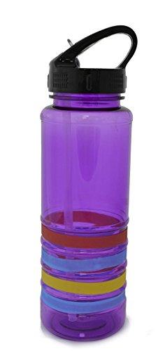 Shine 700ml con pajita Tritan botella de agua morado Deportes Salud