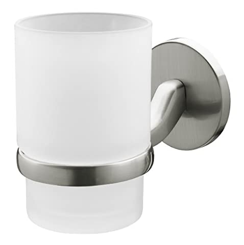 Bisk Virginia Frosted Glass Tumbler Holder, Brushed