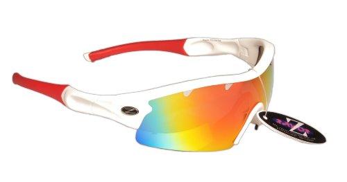 Rayzor professionnel léger UV400 Blanc Sport Wrap Tir à l'arc Lunettes de soleil, avec un 1 Piece ventilé Rouge Iridium miroir anti-éblouissement Lens.