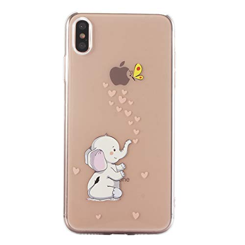 CUagain Kompatibel für iPhone XR Hülle Silikon Transparent mit Kreativ [Apple/Apfel] Lustig Muster Ultra Dünn Hüllen Durchsichtig Klar Gummi Bumper Handyhülle Case Cover für Mädchen Damen,Elefant