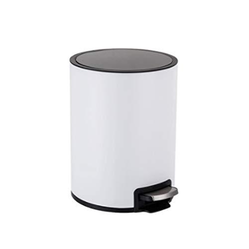 Ashcan FORWIN UK- Cubo de Basura de Pedal de Cocina, a Prueba de Herrumbre, Acero Inoxidable, 6L (Color : Blanco)