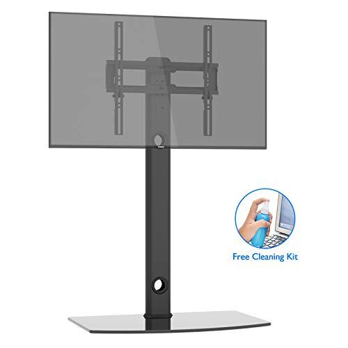 1home TV Fernseher Ständer Stand Fernsehtisch Standfuss Glas Standfuß Halterung Höhenverstellbar Schwenkbar Fernsehstand Flachbildschirm Rack Tischständer für 26-50 Zoll LCD LED Plasma -