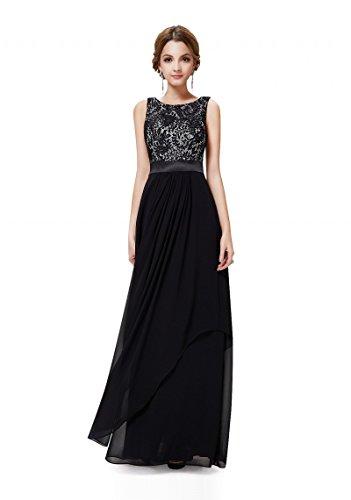 VIP Dress Langes elegantes Abendkleid mit stilvollen Charme in Schwarz, Größe 38