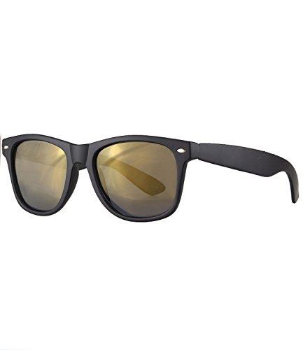 Caripe Retro Nerd Vintage Sonnenbrille verspiegelt Damen Herren 80er - SP (schwarz matt - goldgelb verspiegelt polarisiert - 6007)