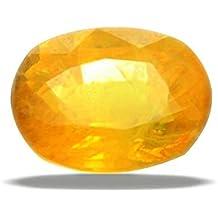 9 Astro Gems & Jewels Yellow Sapphire Natural Pukhraj Oval Gemstone 4.25-4.50 Ratti Unisex