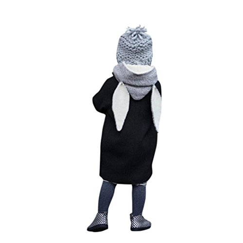 Hffan Niedlich Baby Herbst Winter Mit Kapuze Mantel Hase Jacke Dick Warm Kleider übergangsjacke Wolljacke (1-8 Jahre ) (2 Jahre( Schwarz)) (Sport Jacke Schwarz Blazer Mantel)