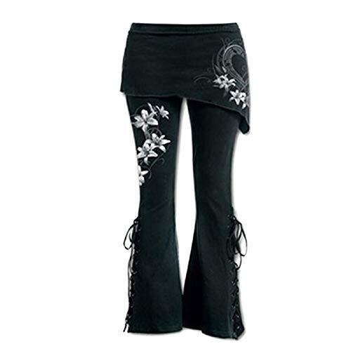 lares Punk Lace Up Bell Bottom Leggings Schwarz Bestickter Casual Verband, Kordelzug Lange, Weites Bein Lounge Pants, Bottoms Hose Breites Bein ()