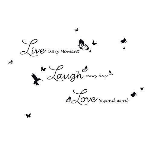 decalmile Adesivi Murali Frasi Live Love Laugh Farfalle Adesivi da Parete Camera da Letto Soggiorno Ufficio Decorazioni Parete Stickers Murali