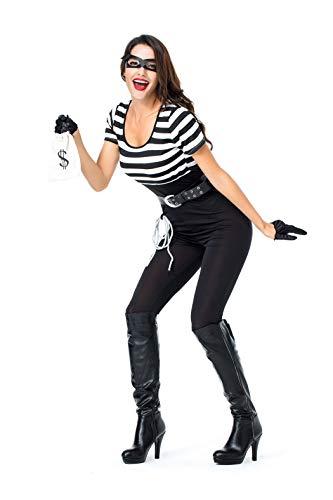 VENIMASEE Frauen-Gefangener-Polizist-Uniform Halloween Cosplay Kostüm-Kostüm