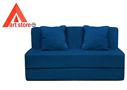 Fabulous Aart Store High Density Foam One Seater Sofa Cum Bed Furniture With 2 Cushion Perfect For Guests 3X6 Ft Blue Theyellowbook Wood Chair Design Ideas Theyellowbookinfo
