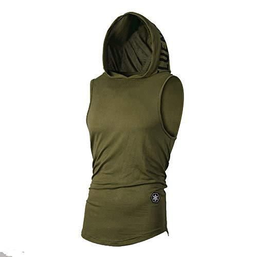 UJUNAOR Tank Top Herren Slim Fit Basic T-Shirt Tankshirt Mit Kapuze Ärmellos Muskelshirt Fitness Unterhemden(Grün,EU 2XL/CN 3XL) -
