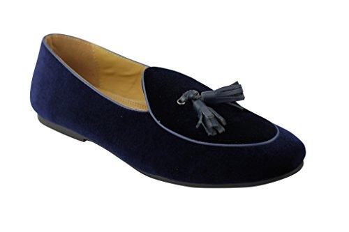 Veste en cuir noir et bleu marine en velours avec plat Flâneur Smart Casual Vintage Chaussures à enfiler Bleu - noir foncé