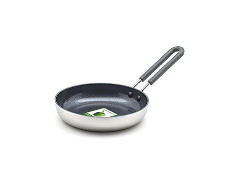 GreenPan Mini-Bratpfanne 14-cm Ø Induktion, Ceran, Elektro Gas Spülmaschinen-geeignet Keramik-beschichtet, Edelstahl, Silber, 14 cm