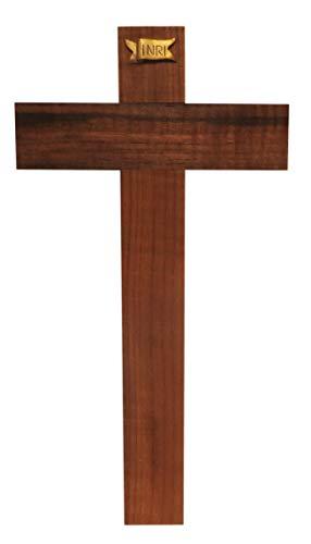 Kaltner Präsente Geschenkidee - 35 cm Wandkreuz Echt Nussbaum Holz Kreuz Holzkreuz Kruzifix für die Wand klassisch - Vatikan-modell