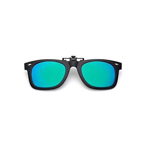 Sport-Sonnenbrillen, Vintage Sonnenbrillen, Polarized Lens Clip On Sunglasses Over Sun Glasses Flip Up Glasses Clip On Shades For WoMänner Männer 100% UV400 Protection Blue Green
