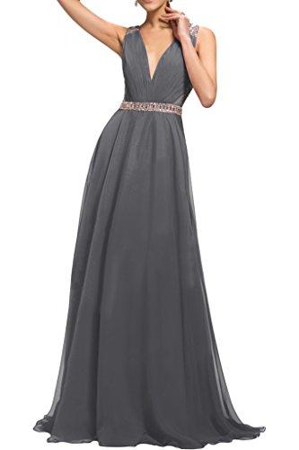 ivyd ressing Femme sexuellement V de la découpe A ligne rueckenfrei perles Prom robe Lave-vaisselle robe robe du soir Silber