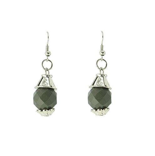 Kleine Ohrringe dunkelgrauer kristall Stein - Ohrhänger silber -