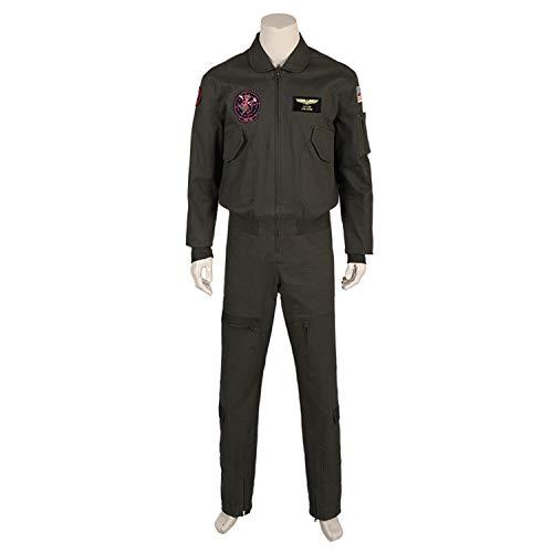 QWEASZER Herren Top Gun Pilot Kostüm, Overall Mäntel Erwachsene Onesies Männer Halloween Cosplay Party Kostüm Film (Xxl Für Erwachsene Pilot Kostüm)