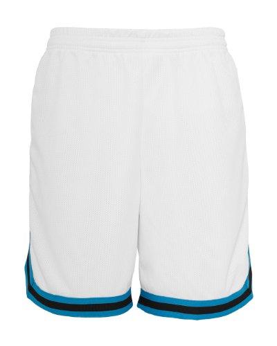 Urban Classics Herren Stripes Mesh Shorts - Urban Fit, Größe:XXL;Farbe:white/turquoise/black (Farbe Polyester-mesh-shorts)