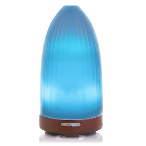 100ml diffusore di aromi ad ultrasuoni bestek con base in legno, nebulizzatore di oli essenziali ultrasuoni con 7 colori lampada, vaporizzatore profumatore aromaterapia essenze, autospegnimento