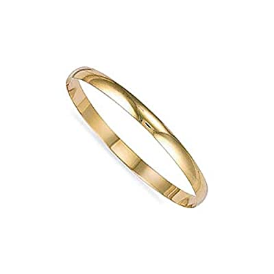 Jewelco London Ladies Solid 9ct Yellow Gold D-Shape 6mm Bangle Bracelet