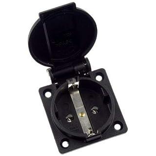 ABL Sursum Black 1 Gang Schuko Socket, Type F - German Schuko, 16A, Panel Mount, IP54, 2 Poles