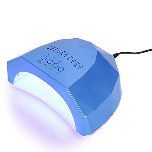Nail Art Trockner, 48W Intelligent Sensor Gel Polish Trocknen Aushärten LED Lampe Maschine mit 4 Timer-Einstellung für Fingernägel und Zehennägel Salon Tools(Blau) -