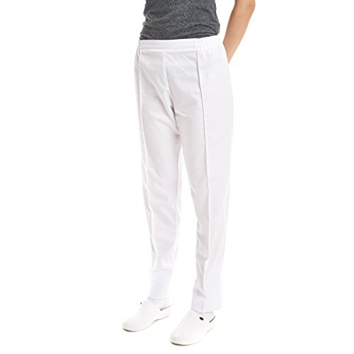 Pantaloni sanitario medico da laboratorio da lavoro (M, Bianco)