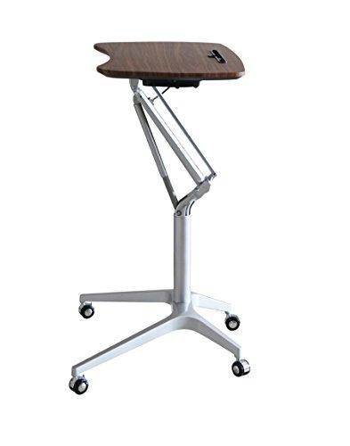 Ergoneer stilvolle Design Höhe verstellbar Mobile Laptop Schreibtisch Warenkorb | Premium Sit-Stand Rolling Laptop Arbeitsplatz über dem Bett | Luxus-Multifunktions-Tischständer für Freizeit-Leben (Nussbaum)