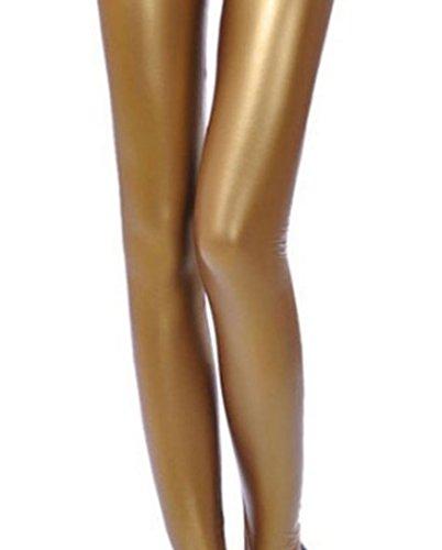JNTworld Damen Frauen sexy Wet-Look glänzen/ glänzend Enge flüssige metallische faux Leder mit hoher Taille Bund Leggings Jeggings Petite Hoch Dunkles Gold