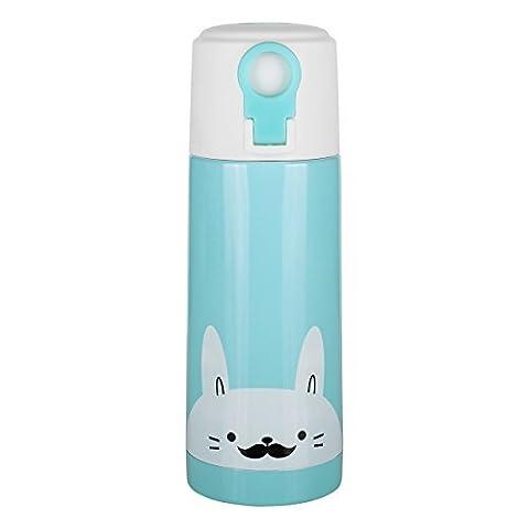 upstyle Design portable Thermos Tasse de voyage Cute Cartoon vide Thermos Bouteille d'eau Isotherme en Acier Inoxydable Thermos Bouteille isotherme taille 12oz (350ml), Acier inoxydable, bleu, 35 cl