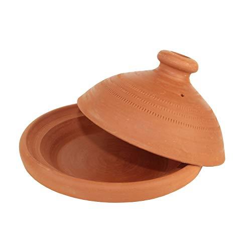 Casa Moro Marokkanische Tagine unglasierte Tajine Terra Natur Ø 20 cm zum Kochen Berber Tontopf Handmade Tuareg für 1 Person Gartopf aus Marrakesch | Terra Natur 20 cm