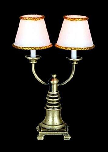 Schattierungen Von Licht Kerze (Melody Jane Puppenhaus Doppelt Kerze Lampe Weiß Schattierungen 12V Miniatur Elektrische Licht)