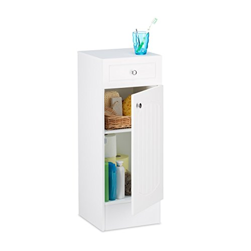 Badezimmer-schrank-schublade (Relaxdays Badschrank Holz, kleiner Badezimmerschrank mit Schublade, Lamellen Design, HBT: 80 x 30,5 x 30,5 cm, weiß)