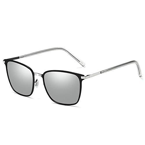 Szblk Metall Sonnenbrille Reisebrille Sonnenbrille Nachtsichtbrille 100% UV-Schutz Polarisierte Sonnenbrille Fahrbrille Persönlichkeit Retro (Color : Silver)