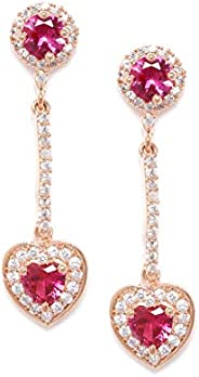 Zaveri Pearls Pink Cubic Zirconia Contemporary Brass Heart Dangle & Drop Earring For Women-ZPFK