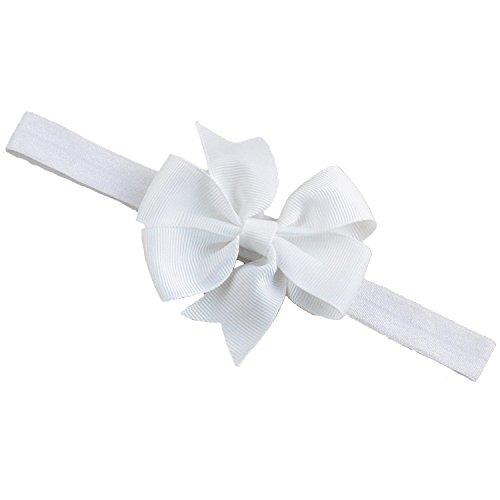 Bellazaara Baby Girl Boutique White Satin Ribbon Bow Headband