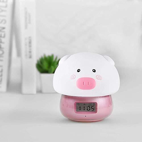 JIAHANLI Sveglia da Smart Sveglia Camera da Letto USB Sveglia Ricaricabile Luce Notturna Imposta Facilmente Telecomando Soft Shot Simpatico Cartone Animato Decorativo colorato LED